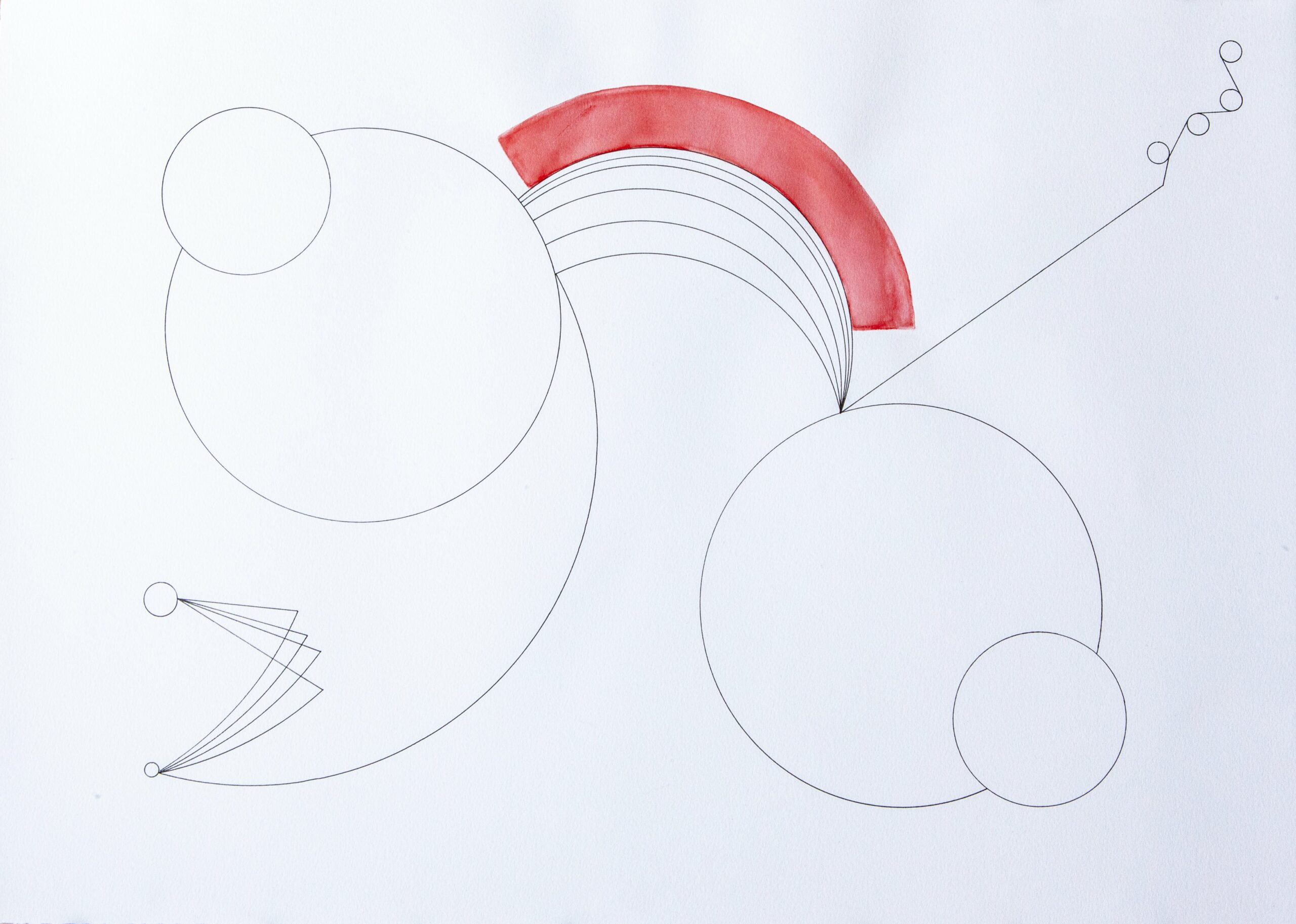 Abstract geometric line drawing with circles and a band of red