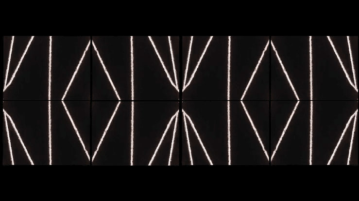 a serious of repetitive white lines shapes