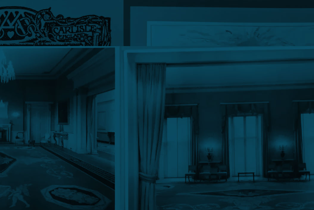 blue washed image of split computer screen showing a long grand ballroom with hand knotted carpet and chandelier, beside this another box out showing a large ballroom with three large windows and a large hand-knotted carpet. Above this cropped images from previous slides.