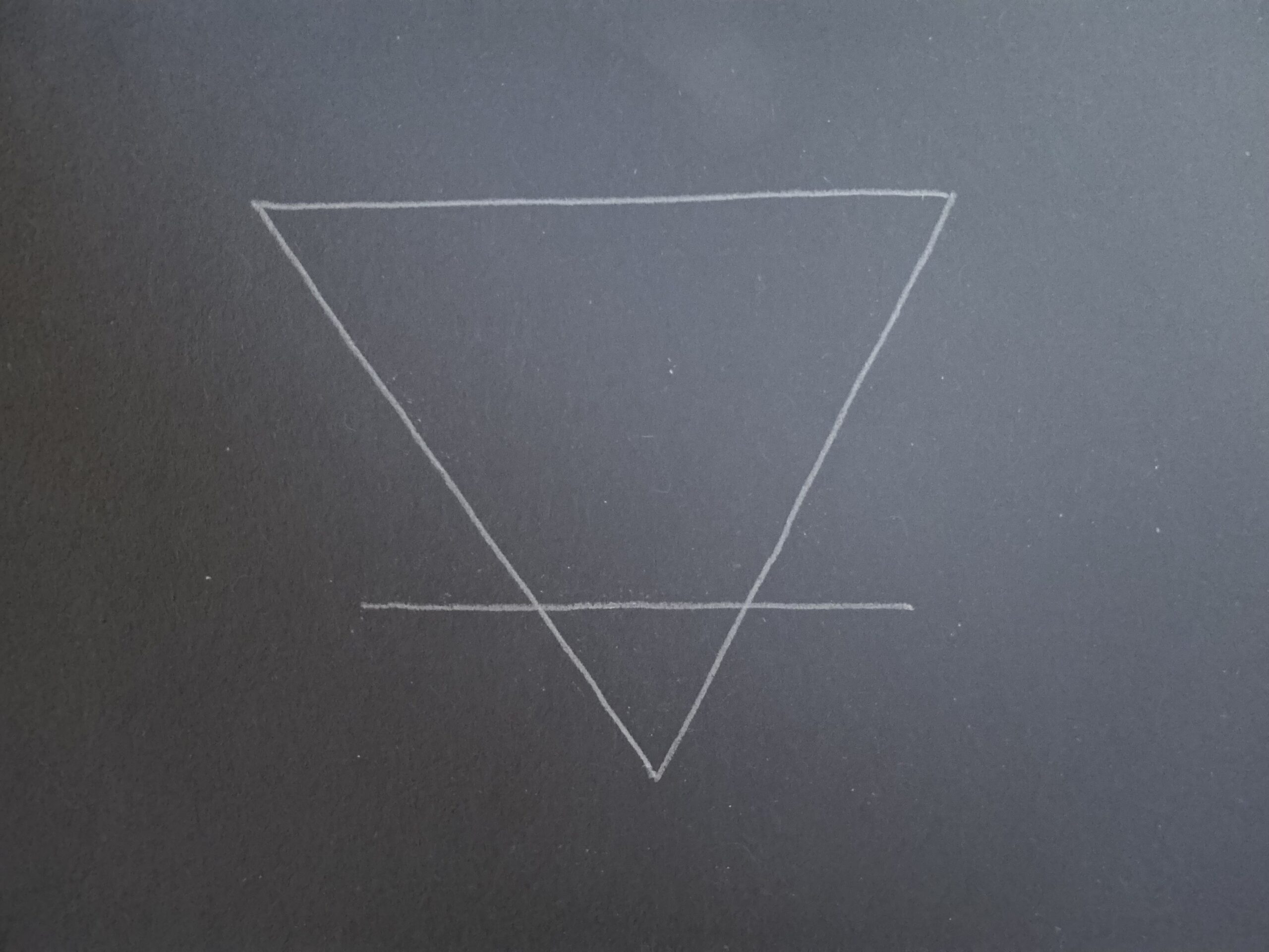 white line drawing of upside down triangle with a horizontal line through the bottom of it against navy background