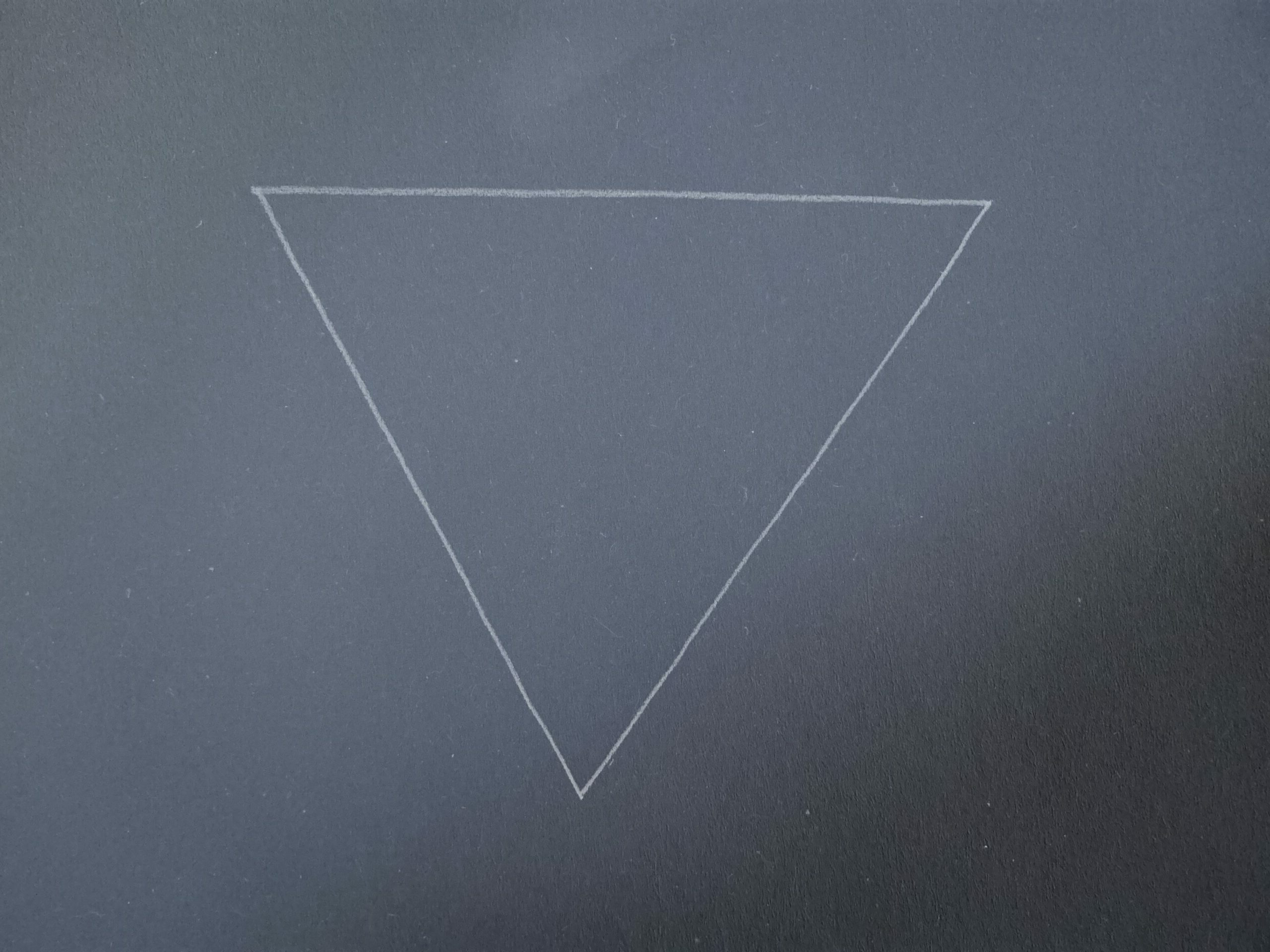 a white line drawing of a upside down triangle against navy background